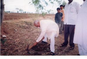 Mr. B. G. Kolse-Patil laying foundation stone for some project.